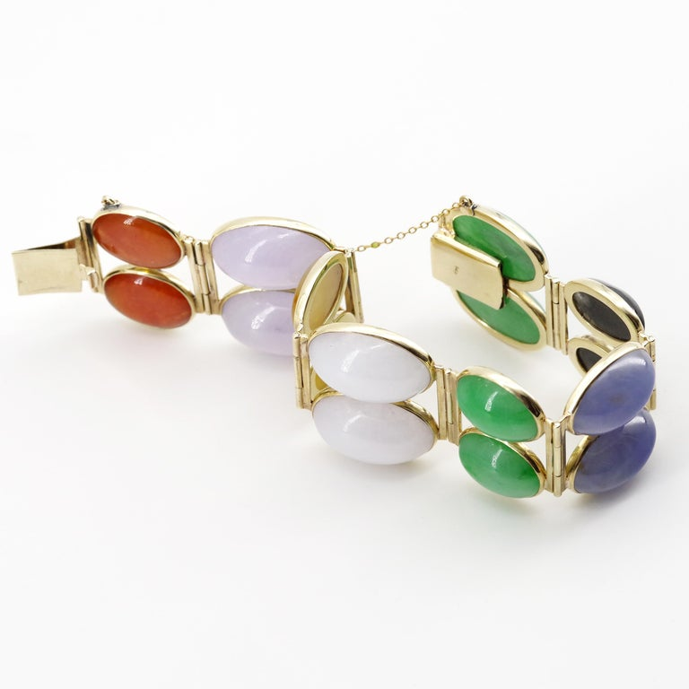 Jade Bracelet Cuff in Lavender, Green, Black, Red, Yellow and White For Sale 1