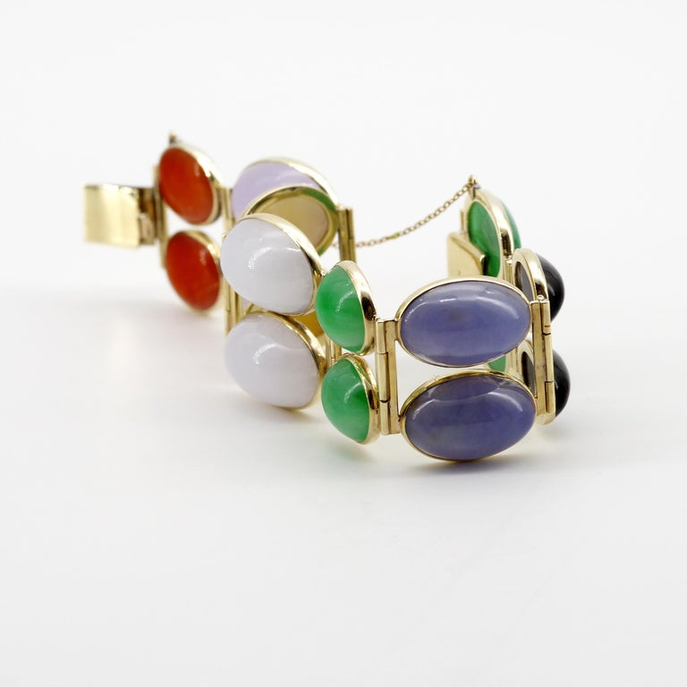 Jade Bracelet Cuff in Lavender, Green, Black, Red, Yellow and White For Sale 2