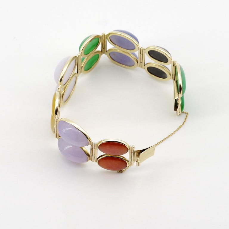 Jade Bracelet Cuff in Lavender, Green, Black, Red, Yellow and White For Sale 3