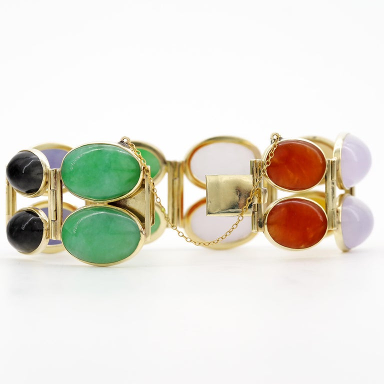 Jade Bracelet Cuff in Lavender, Green, Black, Red, Yellow and White For Sale 4