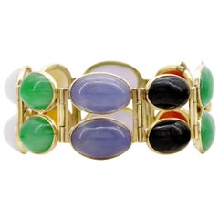 Certified Untreated Multi-Color Jadeite Cabochon Cuff in Yellow Gold