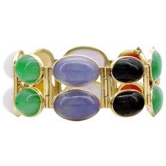 Mason-Kay Jade Bracelet Cuff in Lavender, Green, Black, Red, Yellow & White
