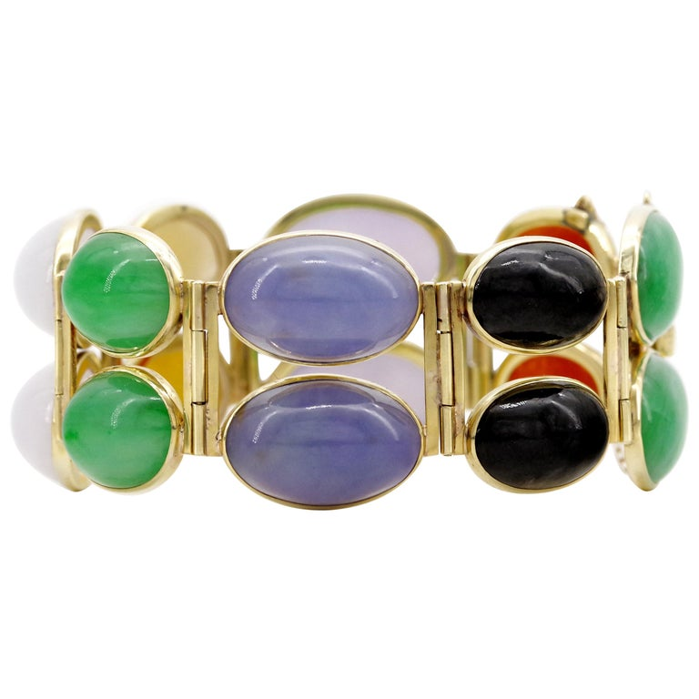 Jade Bracelet Cuff in Lavender, Green, Black, Red, Yellow and White For Sale