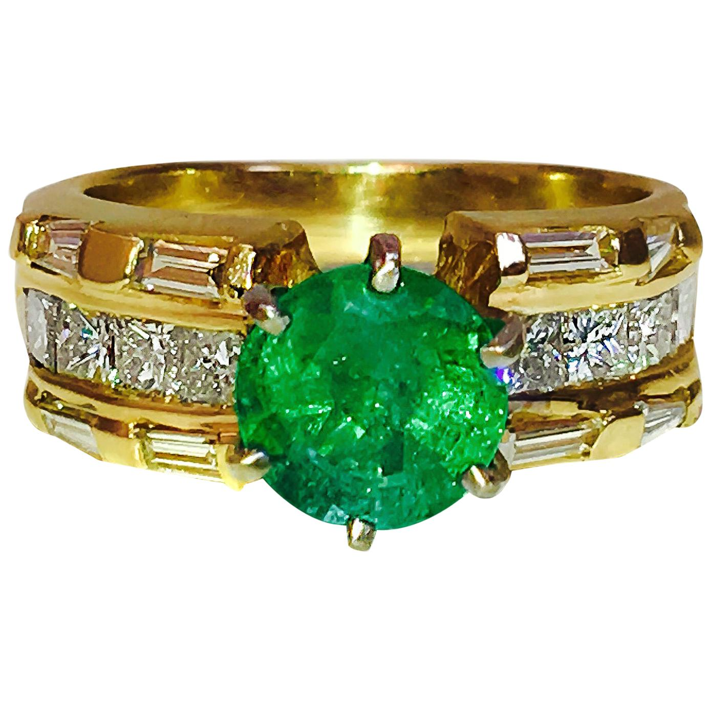 GIA Certified 4.85 Carats Vintage Cocktail Emerald Diamond Engagement Ring