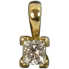 Certified VVS1 E Colour 0.41ct Master Cut Princess Diamond 18ct Gold Pendant
