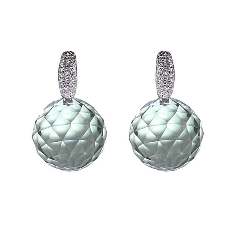 Contemporary Certified White Gold Diamond Earrings Three Pairs of Interchangeable Pendants For Sale