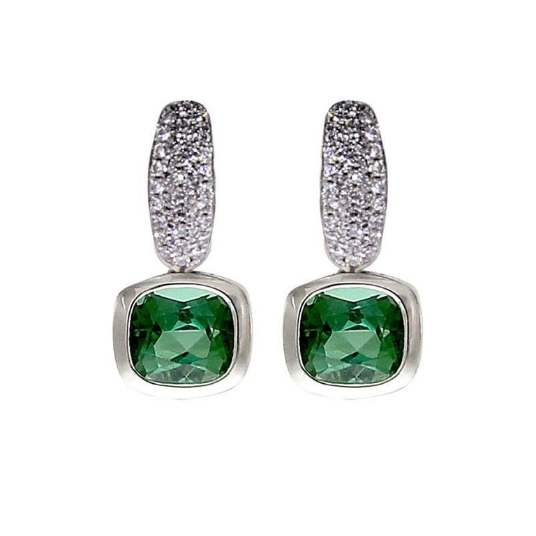 Cushion Cut Certified White Gold Diamond Earrings Three Pairs of Interchangeable Pendants For Sale