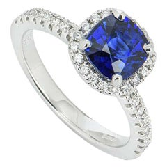 Certified White Gold Sapphire and Diamond Ring