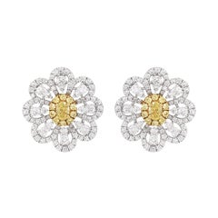 Certified Yellow Diamond and White Diamond in 18K Gold Clip Earrings