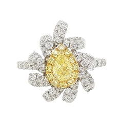 Certified Yellow Diamond and White Diamond in Platinum Cocktail Ring