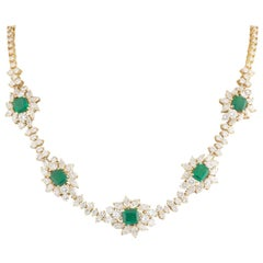 Certified Yellow Gold Diamond and Columbian Emerald Necklace