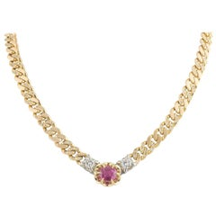 Certified Yellow Gold Ruby and Diamond Necklace