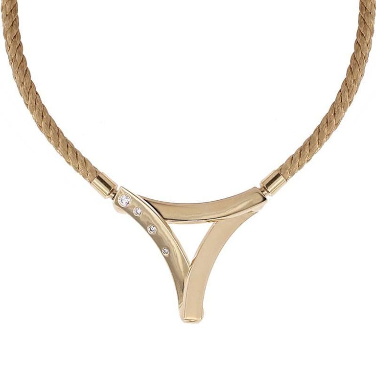 Certified Yellow Gold Twisted Shaped Necklace With Four