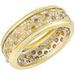 Certified Yellow Gold White and Fancy Yellow Diamond Bangle 25.05 Carat