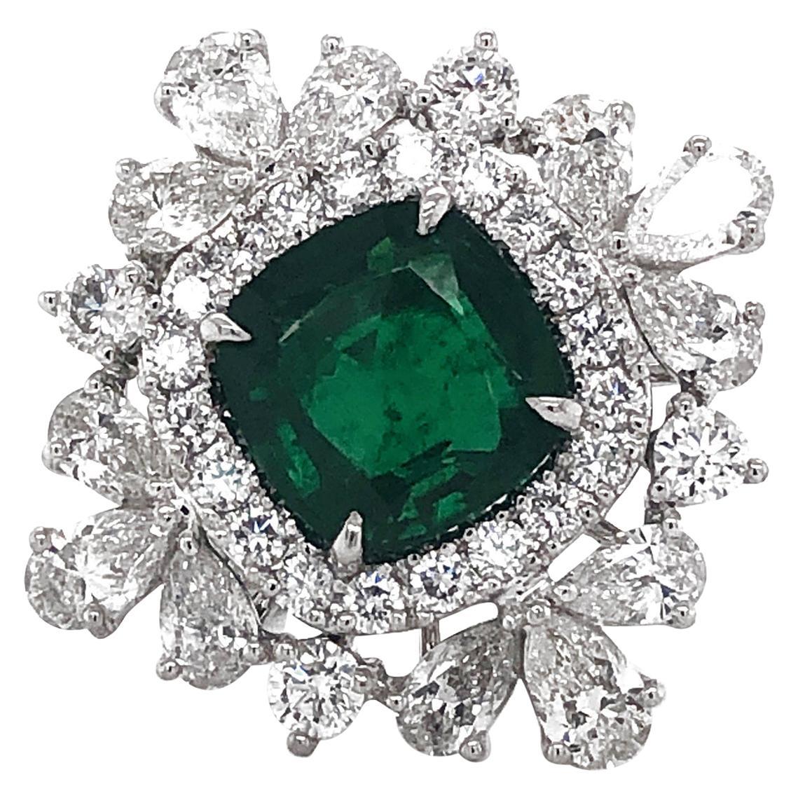 Certified Zambian Cushion Cut Emerald 4.65 Carat Diamond Platinum Cocktail Ring