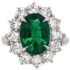 Certified Zambian Oval Cut Emerald 3.22 Carat Total Diamond Platinum Ring