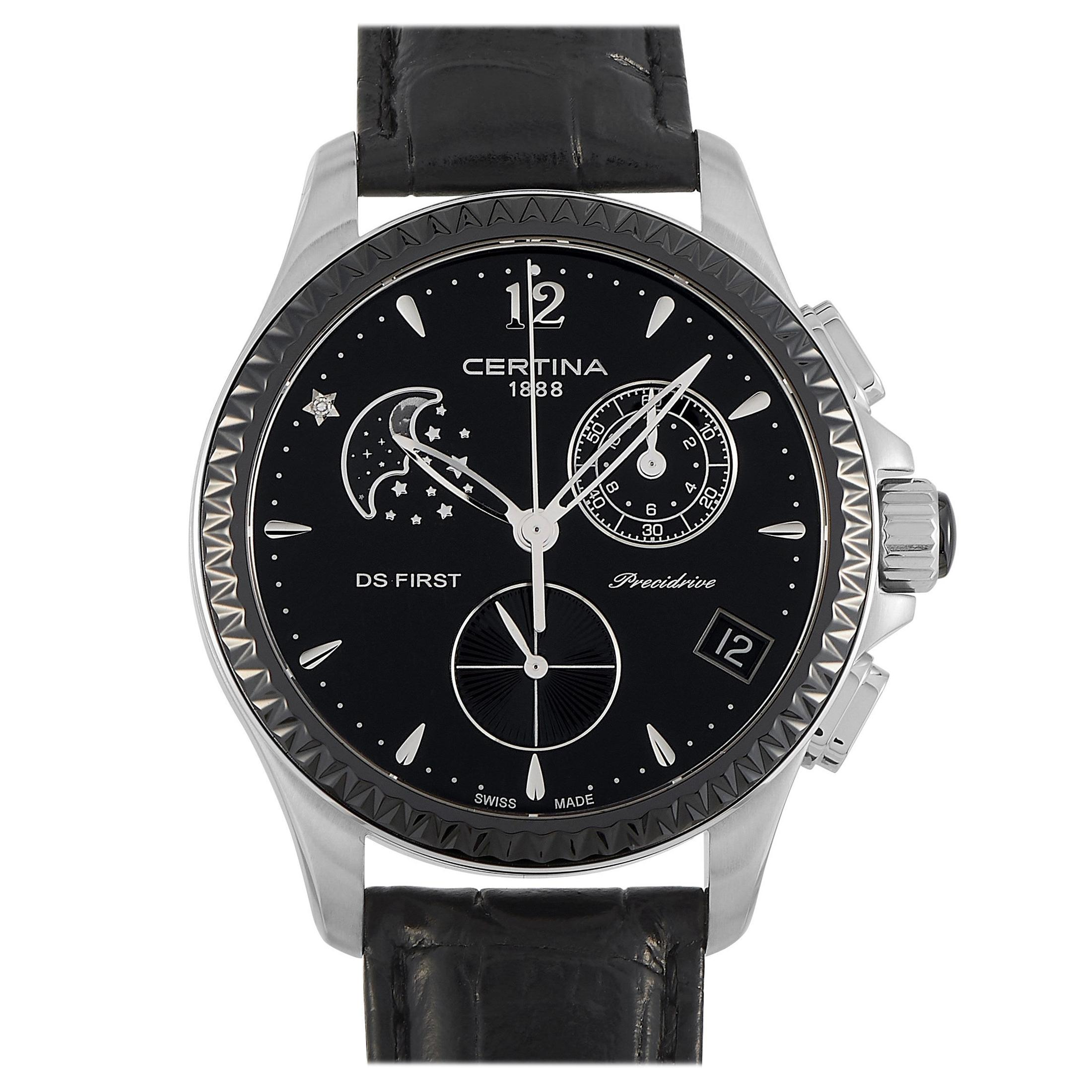 Certina DS First Chronograph Moonphase Black Dial Ladies Watch C030.250.16.056.0