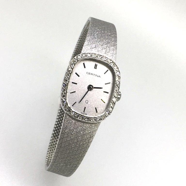 Brilliant Cut Watch, White Gold, Diamonds, Lady, Certina, Bracelet Watch, Vintage, 1983