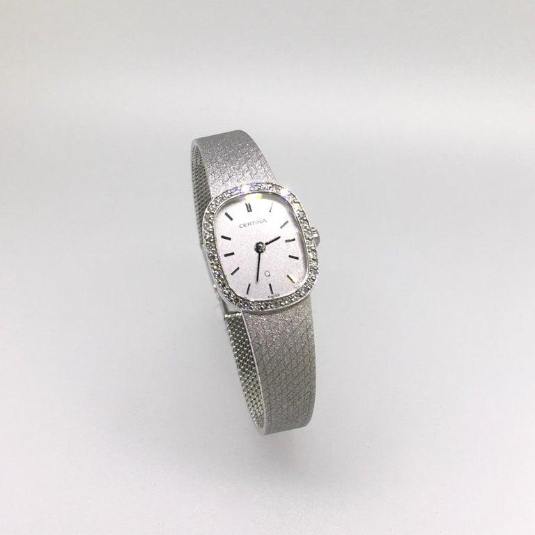 Watch, White Gold, Diamonds, Lady, Certina, Bracelet Watch, Vintage, 1983 1