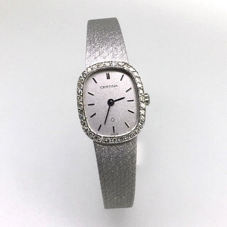 Watch, White Gold, Diamonds, Lady, Certina, Bracelet Watch, Vintage, 1983 2