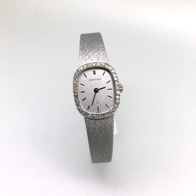 Watch, White Gold, Diamonds, Lady, Certina, Bracelet Watch, Vintage, 1983 4
