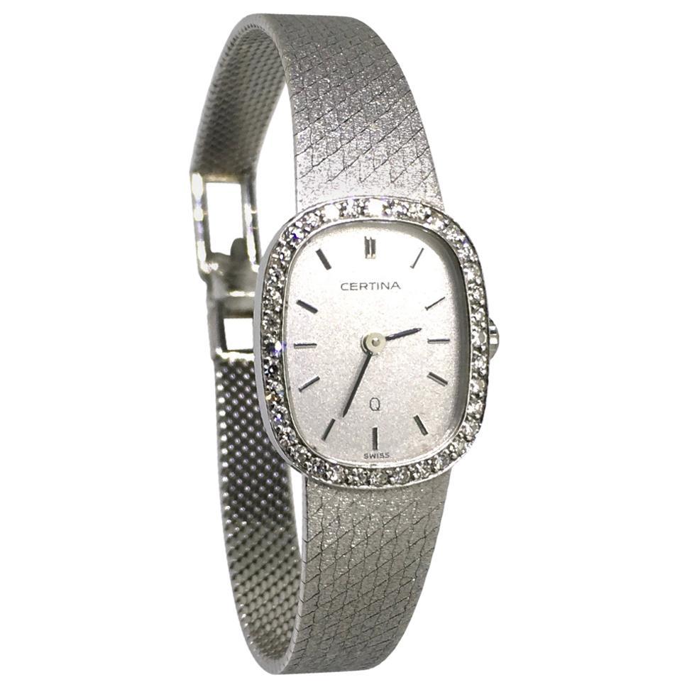 Watch, White Gold, Diamonds, Lady, Certina, Bracelet Watch, Vintage, 1983