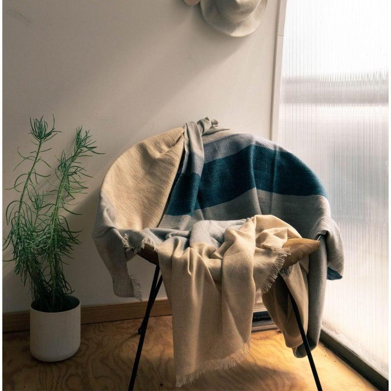 CERU Handloom Merino Throw / Blanket in Neutral Shades of Cream &  Blue For Sale 4