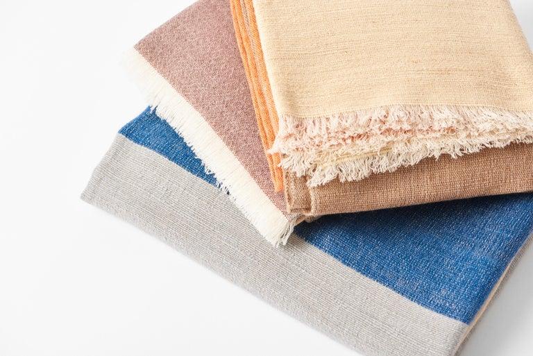 CERU Handloom Merino Throw / Blanket in Neutral Shades of Cream &  Blue For Sale 5