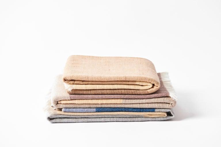 CERU Handloom Merino Throw / Blanket in Neutral Shades of Cream &  Blue For Sale 6