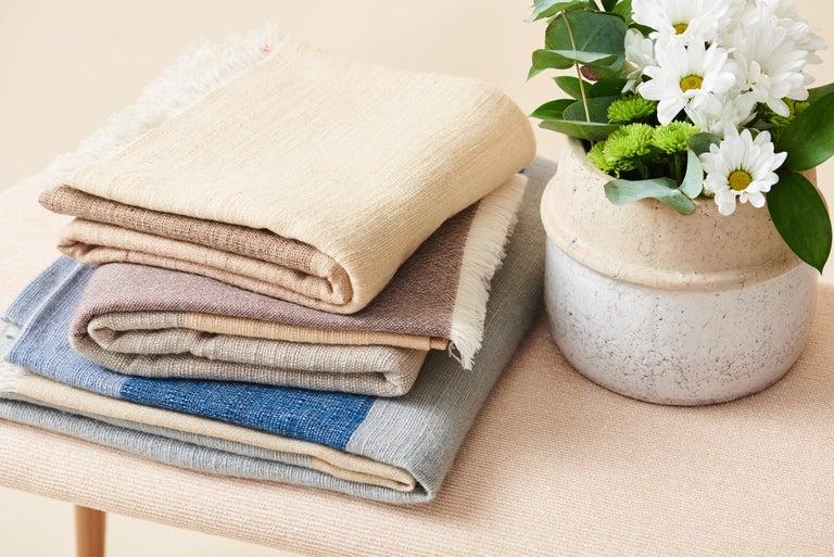 CERU Handloom Merino Throw / Blanket in Neutral Shades of Cream &  Blue For Sale 7