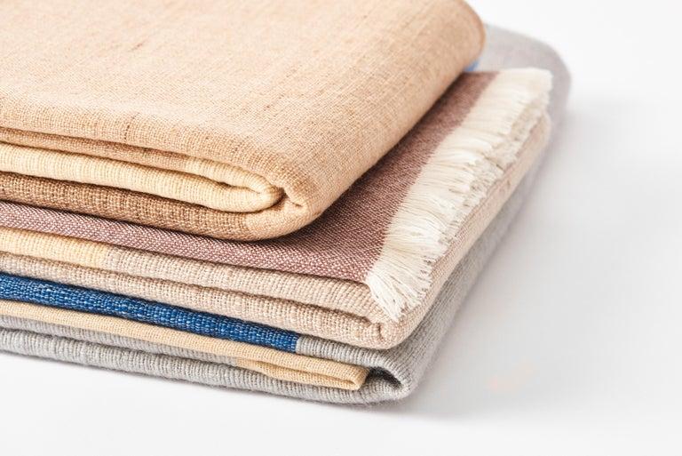 CERU Handloom Merino Throw / Blanket in Neutral Shades of Cream &  Blue For Sale 8