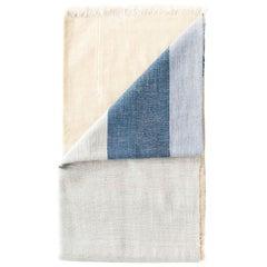 Ceru Handloom Queen Size Merino Bedspread in Cool Shades of Cream & Ceru Blue