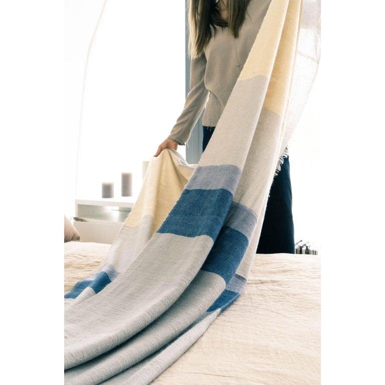 Hand-Woven CERU Handloom Throw or Blanket in Pure Merino For Sale