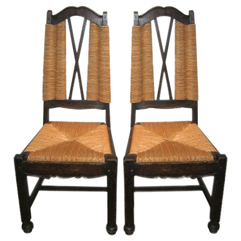 Ceruse Oak Rush Seat Side Chairs Attributed to Maxime Old For Sale