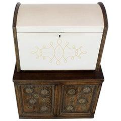 Cerused Carved Scallop Oak Leather Wrapped Campaign Portable Secretary Desk