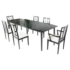 Cerused Ebonized Walnut Dining Room Table 6 Chairs Set w/ Two Extension Boards