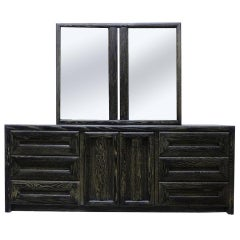 Cerused Nine Drawer Dresser with Twin Mirrors by Lane