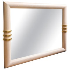 Cerused Oak and Brass Banded Vertical or Horizontal Mirror