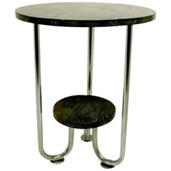 Cerused Oak and Chrome Art Deco Table after Hoffmann