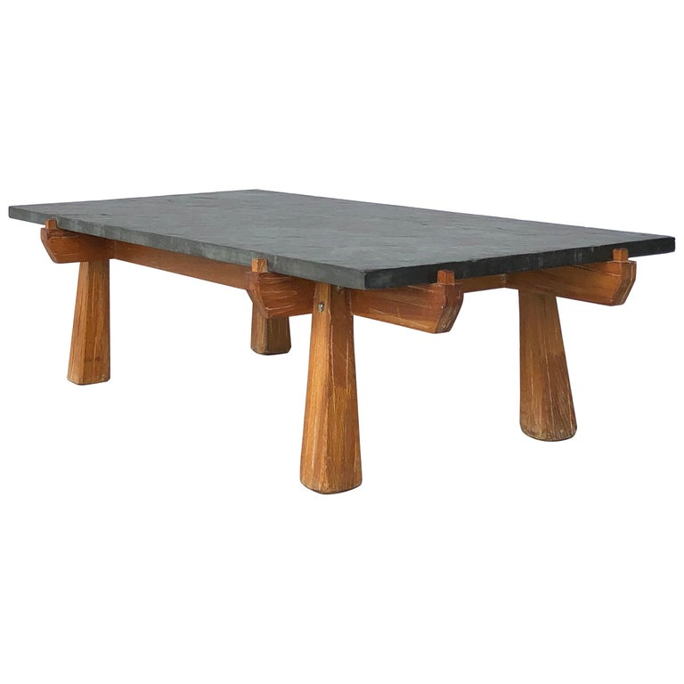 Slate And Glass Coffee Table For Sale: Cerused Oak And Slate French Midcentury Coffee Table For
