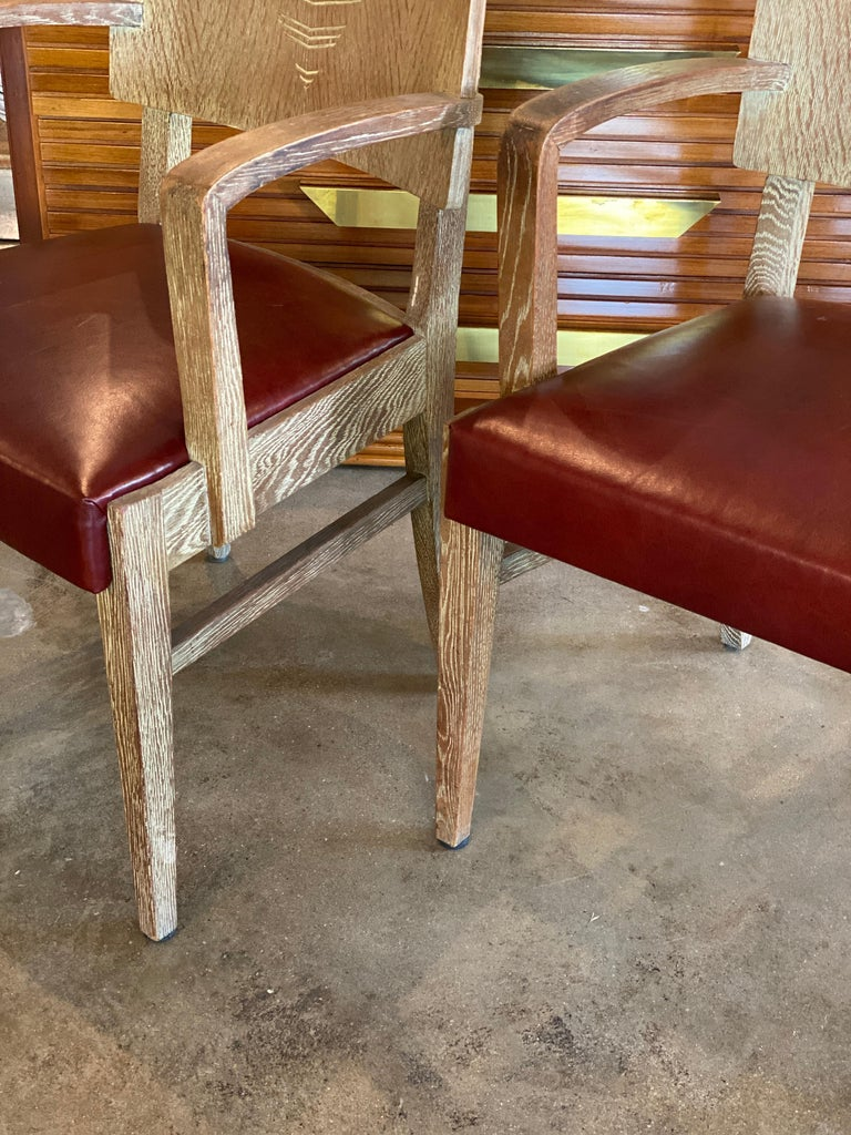 Cerused Oak Art Deco Chairs by Michel Polak, Belgium, 1930s, Pair In Good Condition For Sale In Austin, TX