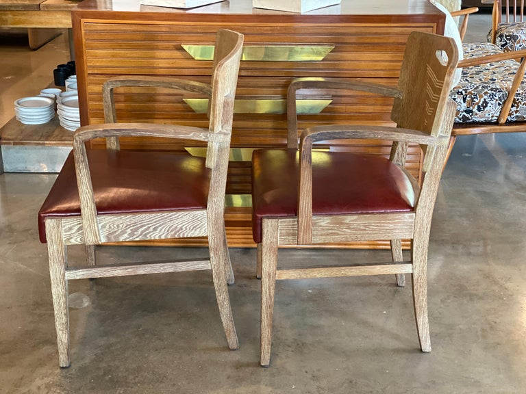 Mid-20th Century Cerused Oak Art Deco Chairs by Michel Polak, Belgium, 1930s, Pair For Sale