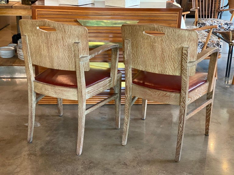 Cerused Oak Art Deco Chairs by Michel Polak, Belgium, 1930s, Pair For Sale 1