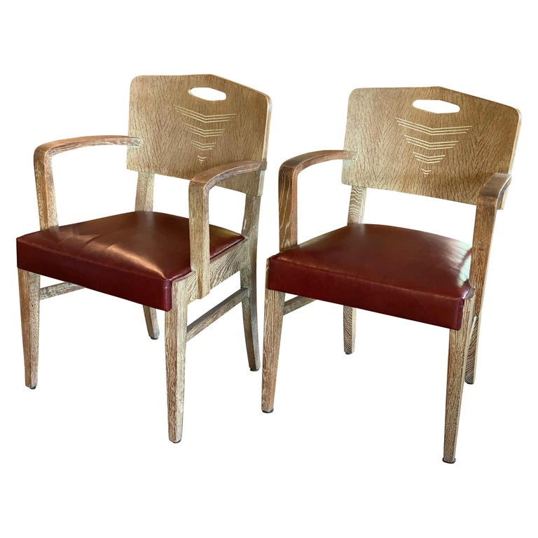 Cerused Oak Art Deco Chairs by Michel Polak, Belgium, 1930s, Pair For Sale