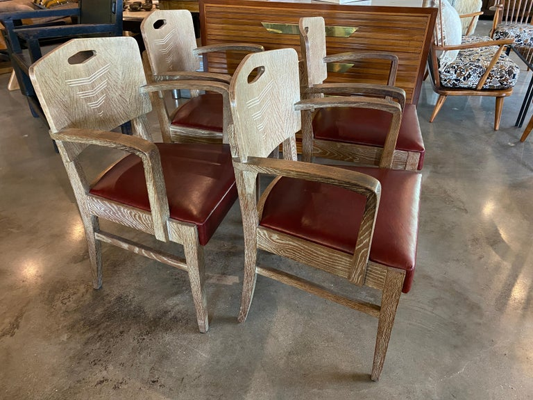 Belgian Cerused Oak Art Deco Chairs by Michel Polak, Set of 4, Belgium, 1930s For Sale