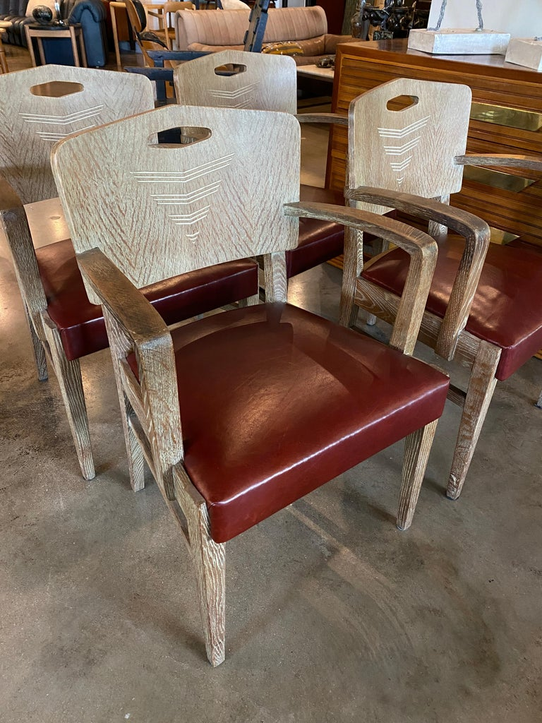 Cerused Oak Art Deco Chairs by Michel Polak, Set of 4, Belgium, 1930s In Good Condition For Sale In Austin, TX