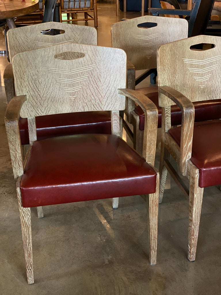 Mid-20th Century Cerused Oak Art Deco Chairs by Michel Polak, Set of 4, Belgium, 1930s For Sale