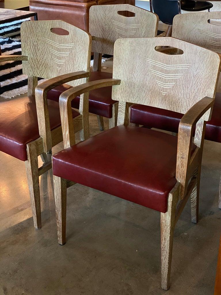 Cerused Oak Art Deco Chairs by Michel Polak, Set of 4, Belgium, 1930s For Sale 1