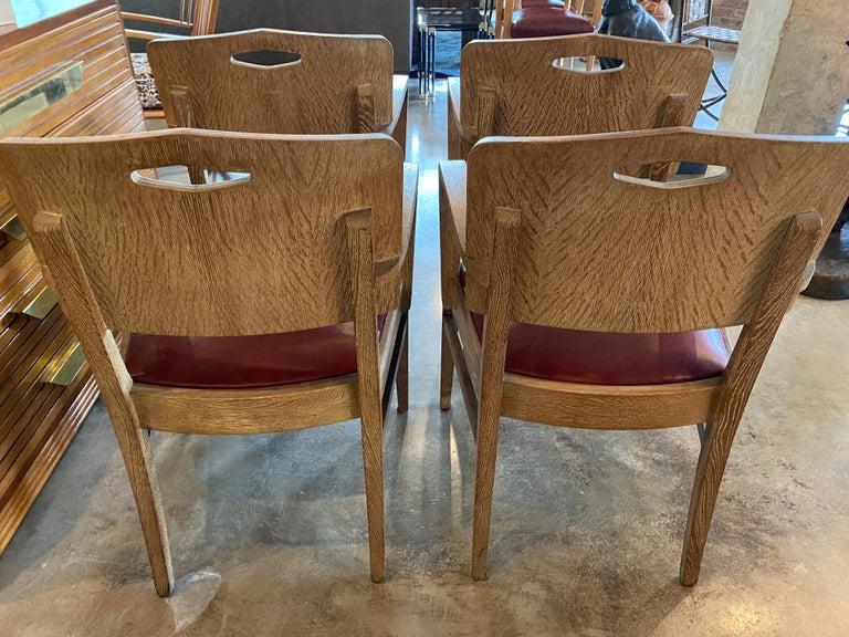 Cerused Oak Art Deco Chairs by Michel Polak, Set of 4, Belgium, 1930s For Sale 2