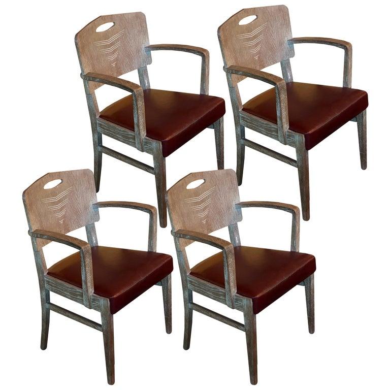 Cerused Oak Art Deco Chairs by Michel Polak, Set of 4, Belgium, 1930s For Sale